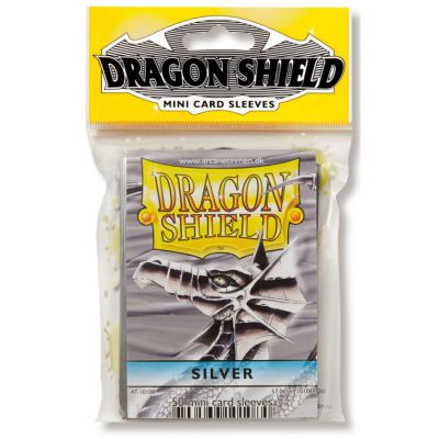 Protèges Cartes Format JAP Sleeves Dragon Shield Mini Par 50 Silver (Lisse)